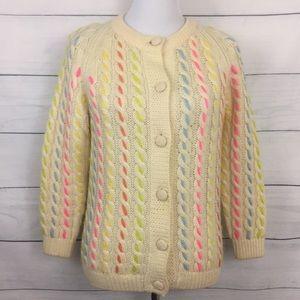 Vintage I. Magnin Rainbow Wool Cardigan Sweater